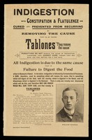 "view Indigestion with constipation and flatulence are cured and prevented from recurring by removing the cause that is, by taking Tablones : ""they remove the cause""."