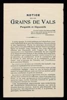 view Notice sur les Grains de Vals : purgatifs et dépuratifs.