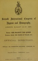 view Seventh International Congress of Hygiene and Demography : London, August 10 -17, 1891 : Official directory.