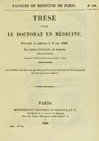 view Thèse pour le doctorat en médecine : présentée et soutenue le 3 mai 1838, / par Louis Cazalas.