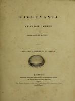 view Raghuvansa, Kálidásæ carmen sanskrite et Latine / edidit Adolphus Fridericus Stenzler.