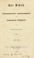 view Zur Bibel. Naturhistorische, anthropologische und medicinische Fragmente