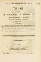 view Thèse pour le doctorat en médecine : présentée et soutenue le 11 juin 1839, / par Eugène Franon, de Charette ... I. Déterminer si la salivation mercurielle peut avoir quelque avantage dans le traitement de la syphilis ... [etc].