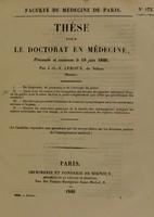 view Thèse pour le doctorat en médecine : présentée et soutenue le 18 juin 1840, / par J.-G.-V. Leroux, de Néhou (Manche). I. Du diagnostic, du pronostic et de l'étiologie du goitre. ... [etc].