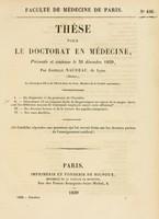 view Thèse pour le doctorat en médecine : présentée et soutenue le 31 décembre 1839, / par Camille Naudeau, de Lyon ... I. Du diagnostic et du pronostic de l'hystérie. ... [etc].