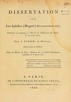 view Dissertation sur les aphthes (muguet) des nouveaux-nés : présentée et soutenue à l'Ecole de Médecine de Paris, le 18 août 1806, / par J. Piron.