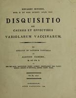 view Eduardi Jenneri, Med. D. et Reg. Scient. Acad. Soc. Disquisitio de caussis et effectibus variolarum vaccinarum / ex Anglico in Latinum conversa ab Aloysio Careno.