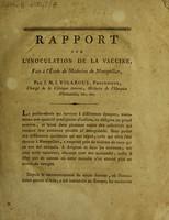 view Rapport sur l'inoculation de la vaccine, fait à l'École de Médecine de Montpellier,