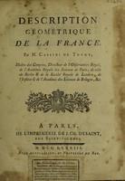 view Description géométrique de la France / [César François Cassini de Thury].