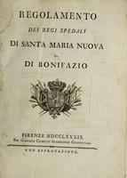 view Regolamento dei Regi Spedali di Santa Maria Nuova e di Bonifazio.
