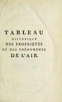 view Tableau historique des propriétés et des phénomènes de l'air, considéré dans ses différens états et sous ses divers rapports ... / [Rouland].
