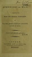 view Aphorisms on man: / translated by the Rev. John Caspar Lavater, citizen of Zuric, from the original manuscript [of 'Vermischte unphysiognomische Regeln', vol. 1, by Henry Fuseli, i.e. J.H. Fuessli].