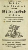 view Briefe eines Schweizers über das Wilhelmsbad bei Hanau