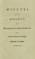 view Minutes of the Society for Philosophical Experiments and Conversations.