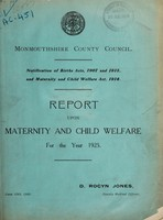 view Report upon maternity and child welfare for the year 1925 / Monmouthshire County Council.