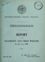 view Report upon maternity and child welfare for the year 1928 / Monmouthshire County Council.