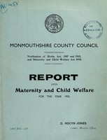 view Report upon maternity and child welfare for the year 1935 / Monmouthshire County Council.