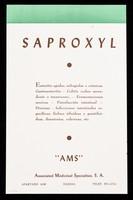 """view Saproxyl ... : Hormantoxone, principio antitóxico del hígado, concentrado y purificado ... / """"AMS"""" Associated Medicinal Specialities, S.A."""