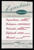 view Especialidades Nadeau : calidad responsibilidad resultados : Pepandrine ... Calcipan ... Valaubel ... Glytapod ... Mecosal ...  / Ethical Products, S.A.
