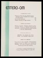 view Entero-Om ... : La eficacia de las vacunas Om contribuye al prestigio del médico : vacuna oral Salmonela Vi Om / Laboratorios Om.