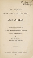 view An enquiry into the ethnography of Afghanistan
