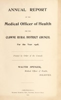 view [Report 1908] / Medical Officer of Health, Clowne / Clown R.D.C.
