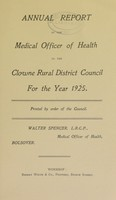 view [Report 1925] / Medical Officer of Health, Clowne / Clown R.D.C.