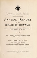 view [Report 1913] / Sanitary Committee [- Medical Officer of Health], Cornwall County Council.