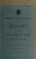 view [Report 1921] / Sanitary Committee [- Medical Officer of Health], Cornwall County Council.