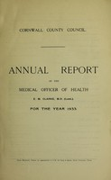 view [Report 1933] / Sanitary Committee [- Medical Officer of Health], Cornwall County Council.