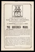 view A short and concise account of Eliza and Mary Chulkhurst, who were born joined together by the hips and shoulders:  in the year of our Lord 1100, at Biddenden, in the county of Kent : commonly called the Biddenden Maids.