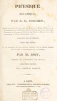 view Physique mécanique / traduite de l'allemand [by M. and Mme Biot] Avec des notes et un appendice par M. Biot [et un supplément].