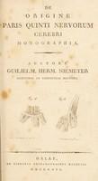 view De origine paris quinti nervorum cerebri monographia / [Wilhelm Hermann Niemeyer].