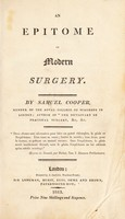 view An epitome of modern surgery / [Samuel Cooper].