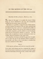 view On the motions of the eye, in illustration of the uses of the muscles and nerves of the orbit / [Sir Charles Bell].