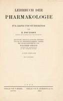 view Lehrbuch der Pharmakologie für Ärtze und Studierende / von E. Poulsson ; deutsche Original Ausgabe besorgt von Friedrich Leskien.