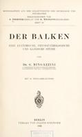 view Der Balken : eine anatomische, physiopathologische und klinische Studie / von G. Mingazzini.