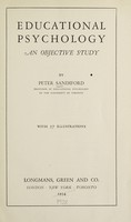 view Educational psychology : an objective study / by Peter Sandiford.