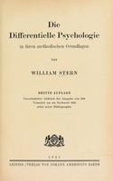 view Die differentielle Psychologie : in ihren methodischen Grundlagen / von William Stern.