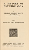view A history of psychology / by George Sidney Brett.