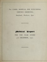 view Medical report for the year ended 31st December, 1922 / The Cassel Hospital for Functional Nervous Disorders.