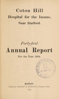 view Forty-first annual report for the year 1894 / Coton Hill Hospital for the Insane.