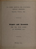view Report and accounts for the year ended 31st December, 1922 / The Cassel Hospital for Functional Nervous Disorders.