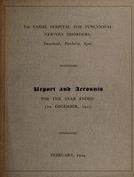 view Report and accounts for the year ended 31st December, 1923 / The Cassel Hospital for Functional Nervous Disorders.