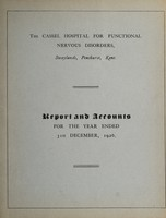 view Report and accounts for the year ended 31st December, 1926 / The Cassel Hospital for Functional Nervous Disorders.