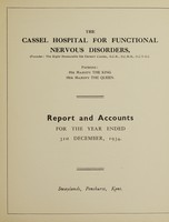 view Report and accounts for the year ended 31st December, 1934 / The Cassel Hospital for Functional Nervous Disorders.