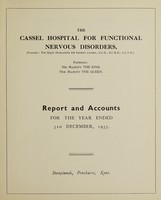 view Report and accounts for the year ended 31st December, 1935 / The Cassel Hospital for Functional Nervous Disorders.