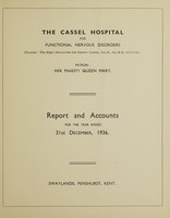 view Report and accounts for the year ended 31st December, 1936 / The Cassel Hospital for Functional Nervous Disorders.