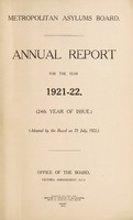 view Annual report for the year 1921-22 : (24th year of issue) / Metropolitan Asylums Board.