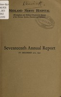 view Seventeenth annual report, to December 31st, 1930 / Midland Nerve Hospital (Birmingham & Midland Hospital for Diseases of the Nervous System, Paralysis and Epilepsy).